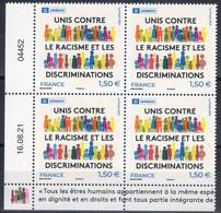"""FR 2021 / Coin Daté 16.08.21 4ex  """"  UNESCO-RACISME...  """" Issu BF 12 T Service à 1.50 €  MARGES ILLUSTREES / Neuf - 2010-...."""