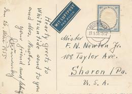 Bund - 1955 - 40pf Todestag Friedrich Von Schiller On Postcard From Hedemunden To Sharon / USA - Briefe U. Dokumente