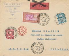Indochine - 1925 - 4 Stamps On Airmail Cover Van Saigon Naar Toulouse - Controle AFFR Avion - Par Avion Crossed Out - Storia Postale