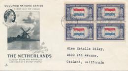 USA - 1943 - Occupied Nations Serie - FDC - The Netherlands / Nederlandse Vlag - Washington To Oakland - 1941-1950