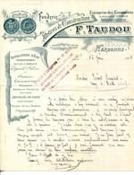 FACTURE.11.AUDE.NARBONNE.FONDERIE & ATELIERS DE CONSTRUCTION.F.TAUDOU 1 AVENUE DE TOULOUSE. - Non Classificati