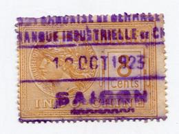 INDOCHINE TIMBRE FISCAL AVEC OBLITERATION SAIGON 12 OCT 1923 - Usados