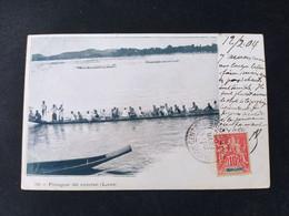 Indochine Française - Laos - Pirogues De Course / Edition ? N°342 / Timbre Et Cachet Colonie - Laos