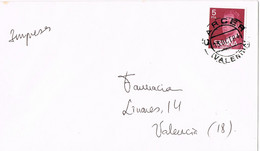 42089. Carta Impresos CARCER (Valencia) 1984 A Valencia. - 1981-90 Storia Postale