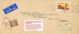 42094. Carta Aerea SALISBURY (Rhodesia) 1970. Taxe, Tasa England. TO PAY - Rhodesia (1964-1980)