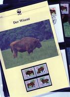1996 Litauen/Lithuania WWF Wisent/Bison Komplettes Kapitel 4 **, 4 FDC, 4 MK  + 3 Blätter Beschreibung - Unused Stamps