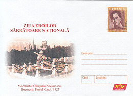 99331- BUCHAREST UNKNOWN'S SOLDIER TOMB, E. TEODOROIU, WW1, HISTORY, COVER STATIONERY, 2005, ROMANIA - WW1 (I Guerra Mundial)