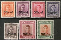 NUEVA ZELANDA Serie X 7 Sellos Mint REY GEORGE 6° USO OFICIAL 1946+ - Officials