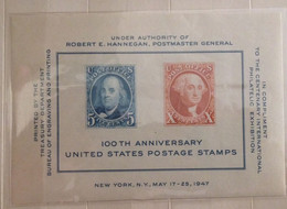 MNH Stamp Sheet 100 TH ANNIVERSARY UNITED STATES POSTAGE STAMPS - Postal History