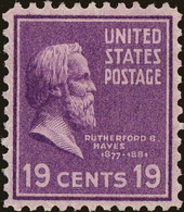 1938 Presidential Series, 19 Cents, Hayes, Mint Never Hinged - Unused Stamps