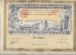 TRES BELLE OBLIGATION ILLUSTREE DE  500 FRS - GRANDES MALTERIES DU GATINAIS - -ANNEE 1921 - Agricoltura