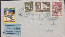 Finland Par Avion ILMAPOSTI Label HELSINKI 1946 'Petite' Cover Brief TAMWORTH, USA Christmas Tuberculosis Vignette - Briefe U. Dokumente