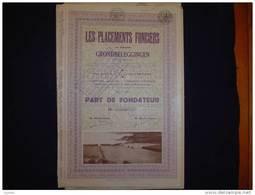 "Part De Fondateur""Les Placements Fonciers""Bruxelles 1931(Grondbeleggingen) - Banca & Assicurazione"