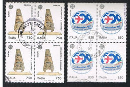 ITALIA  REPUBBLICA - CAT.UNIF. 2016.2017   - 1992  EUROPA: SCOPERTA AMERICA  IN QUARTINA  USATA (°) - Blokken & Velletjes