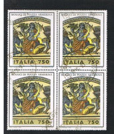 ITALIA  REPUBBLICA - CAT.UNIF. 2073  - 1993 MOSAICI DI PIAZZA ARMERINA,  ENNA -  QUARTINA  USATA (°) - Blokken & Velletjes