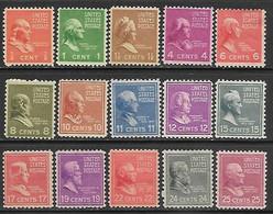 US 1938  15 Diff MH To The 25c   2016 Scott Value $13.35 - Unused Stamps