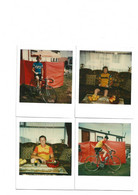 VELO-CYCLISME-WIELRENNEN-4-PHOTOS-POLAROID-ORIGINAL D'EPOQUE-SUPPORTERS-FIAT+IJSBOERKE-DIMENSIONS+-9-11 CM - Sport