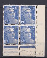 N° 812 Marianne De Gandon:  Beau Bloc De 4 Timbres Neuf Impeccable Coins Datés 19.2.49 - 1950-1959
