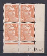 N° 808 Marianne De Gandon:  Beau Bloc De 4 Timbres Neuf Impeccable Coins Datés 12.2.48 - 1950-1959