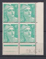 N° 807 Marianne De Gandon:  Beau Bloc De 4 Timbres Neuf Impeccable Coins Datés 28.4.48 - 1950-1959