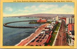 California Long Beach Ocean Boulevard Municipal Auditorium And Rainbow Pier Curteich - Long Beach