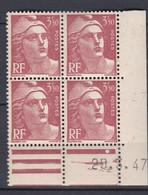 N° 716B Marianne De Gandon : Beau Bloc De 4 Timbre Neuf Impeccable Coins Datés 20.3.47 - 1940-1949