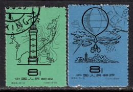 China P.R. 1958 Mi# 396-397 Used - Short Set - Meteorological Services In Ancient And Modern China - Gebraucht
