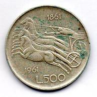 ITALIA, 500 Lire, Silver, Year 1961, KM #99 - 500 Lire