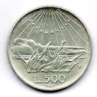 ITALIA, 500 Lire, Silver, Year 1965, KM #100 - 500 Lire