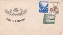 PRIMA ZI A EMISIUNII, LUNA PADURII. PREMIER JOUR DU SPECTACLE, LUNE DE FORET. ROUMANIE 1950's FDC ENVELOPPE.- LILHU - Cartas