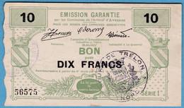 Dix Francs Avesnes Bourg De Trelon Pirot 59-184  0 Trou épingle  ; Plis  ; 0 Fente  125 Mm / 73 Mm - Bonds & Basic Needs