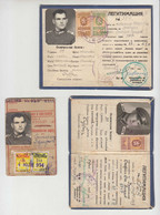 Bulgaria Officer 1940s/50s ID Cards And City Transport Card With Revenue Stamps (ds01) - Briefe U. Dokumente