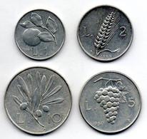 ITALIA, Set Of Four Coins 1, 2, 5, 10 Lire, Aluminum, Year 1949, 50, KM #87, 88, 89, 90 - Set Fior Di Conio