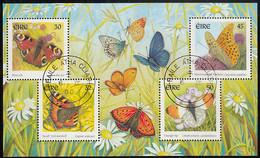 Ireland 2000 Used Sc #1265a Sheet Of 4 Butterflies - Usati
