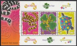 Ireland 2001 Used Sc #1280 Sheet Of 3 30p Pets Year Of The Snake - Usati