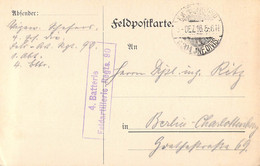 German Feldpost WW1: Feldartillerie Regiment 90 (4. Batterie) Posted 6.12.1916 By 204. Infanterie Division - Card - WW1 (I Guerra Mundial)
