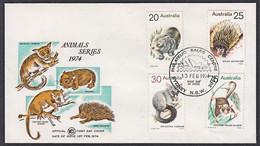 Ca0475 AUSTRALIA 1974, SG 561-4 Animals, FDC - Covers & Documents