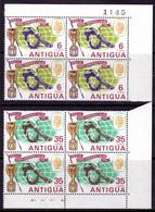 ANTIGUA - 1966 WORLD CUP FOOTBALL SET (2V) FINE MNH ** IN CORNER MARGIN BLOCKS OF 4 SG 176-177 X 4 - 1960-1981 Ministerial Government