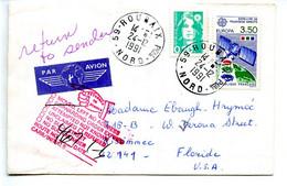 Europa Satellite De Television 3.50fr Sur Lettre Retournée A L'expediteur,lettre Adressée Aux Etats-Unis, USA - 1991
