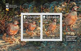 """GIBRALTAR 2019 - EUROPA 2019 - -""""AVES - BIRDS/WILDLIFE - VÖGEL - OISEAUX""""- PERDIZ BARBARY - HOJITA BLOQUE - 2019"""