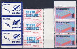 """1970-80 Lot De 3 Bandes De 3 """" VIGNETTES """" Timbroscopie-31270 CUGNAUX-pensez..code Postal SIGLE PUBLICITAIRE CELEBRE - Blocs & Carnets"""