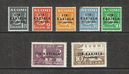 Karelia 1941 Sc # N1 / N7  MVLH*  Occupation Stamps  (Note Spot On Top Left Corner Of 3 1/2 Value) - Ungebraucht