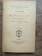 Les Essais De Montaigne Tome 1: Publiés D'après L'édition De 1588 / Flammarion - Sonstige