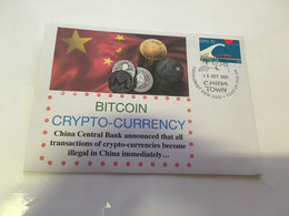 (5 A 34) China Officialy Banned Crytocurrency BITCOIN - Postmarked 15-10-2021 - Expo 70 Stamp - Other