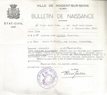 PZ /  VILLE DE NOGENT-SUR-SEINE  ( Aube ) ETAT CIVIL Bulletin De Naissance  1940 - Decrees & Laws