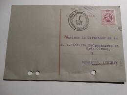 COB 284 40c Lilas Sur Carte Postale.Obl Chimay Du 02/01/1931. - Covers & Documents