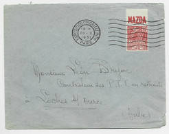 FACCHI 50C PUB MAZDA LETTRE COVER MECANIQUE EXPOSITION COLONIALE INTLE 28.X.1931 PARIS - 1921-1960: Modern Tijdperk