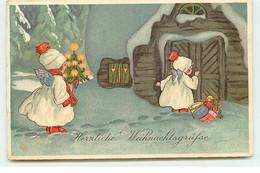 N°17675 - Herzliche Weihnachtsgrusse - Anges Apportant Des Cadeaux, Et Un Sapin - Otros