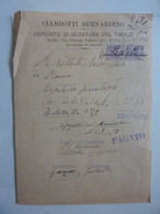 "Fattura ""CIAMBOTTI BERNARDINO DEPOSITO SEGATURA DEL TIROLO ROMA"" 1916 - Visiting Cards"