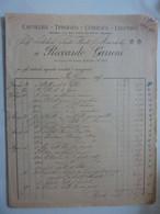 "Fattura ""CARTOLERIA TIPOGRAFIA LITOGRAFIA LEGATORIA RICCARDO GARRONI ROMA"" 1892 - Visiting Cards"